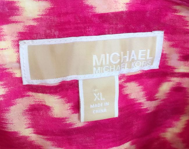MICHAEL Michael Kors Mk Logo On Buttons Collared Cuffed Sleeve Button Down Shirt Pink Image 6