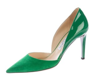 Jimmy Choo Suede Patent Leather Green Pumps
