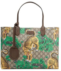 Gucci Gg Supreme Bengal Tiger Tote in Beige and Brown