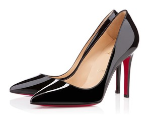 Christian Louboutin Pigalle Follies Patent Leather 100mm Pointed Toe Black Pumps