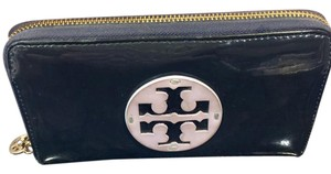 Tory Burch Large Patent Leather Stacked Logo Zip Around Wallet/Clutch