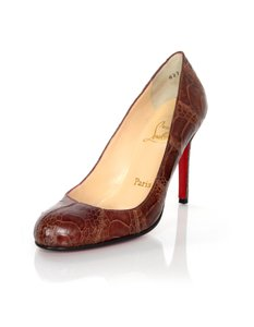 Christian Louboutin Simple Ostrich Leg Ostrich Brown Pumps