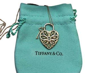 Tiffany & Co. Tiffany & Co Sterling & Gold Heart Lock Necklace Pendant