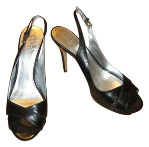 Guess By Marciano Leather Peep Toe Platform Slingback Black Pumps