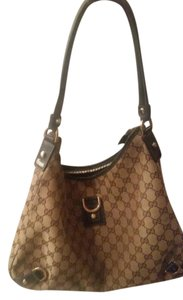 Gucci Leather Canvas Monogram Hobo Bag