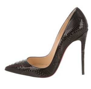 Christian Louboutin Metallic Textured Pointed Toe Kristall So Kate Black, Silver Pumps
