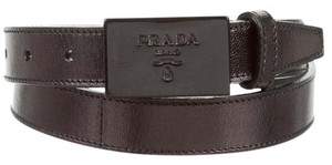 Prada Black leather Prada logo embellished buckle belt XS