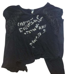 Free People T Shirt charcoal grey and black details with sparkles