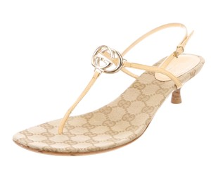 Gucci Gold Hardware Embellished Gold, Beige, Yellow Sandals