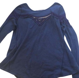 Free People T Shirt dark blue/grey with plum lace