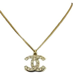 Chanel Chanel Double Charm Rhinestone Necklace