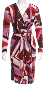 Emilio Pucci Longsleeve Print Monogram Gold Hardware Wool Dress