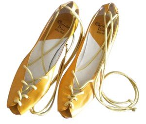 Christian Dior Vintage Runway Leather Yellow / Mustard Sandals