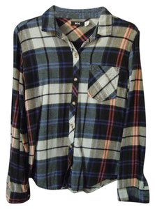 BDG Flannel Pocket Button Down Shirt blue multi plaid