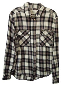 Garage Brass Longsleeve Boyfriend Cut Plaid Button Down Shirt navy white multi flannel