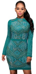 Xtaren Jeweled Bodycon Embellished Quilted Sexy Dress