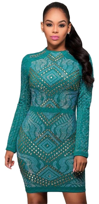 Item - Hunter Green Quilted Bodycon Stone Jeweled Embellished Long Sleeve Short Formal Dress Size 12 (L)