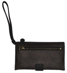 Coach Wristlet in Dark Brown with Black and Gold