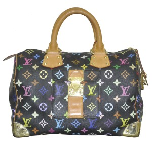 Louis Vuitton Speedy 30 Multicolor Handbag Satchel in black