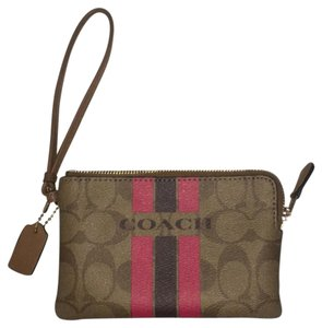 Coach Wristlet in Tan with pink and brown stripes