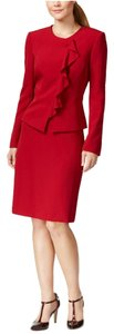 Tahari Tahari ASL Womens Monica Red Ruffled 2PC Skirt Suit Petites 10P
