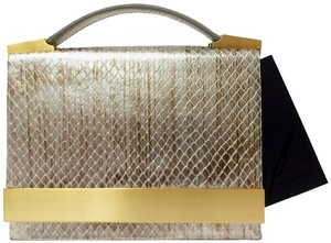 Brian Atwood Ava Snake Print Leather Pewter Clutch