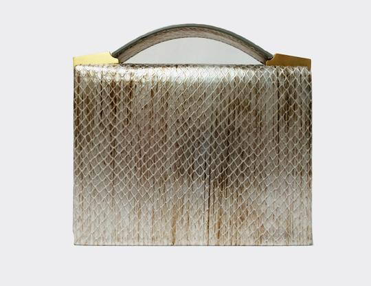 Brian Atwood Ava Snake Print Leather Pewter Clutch Image 10