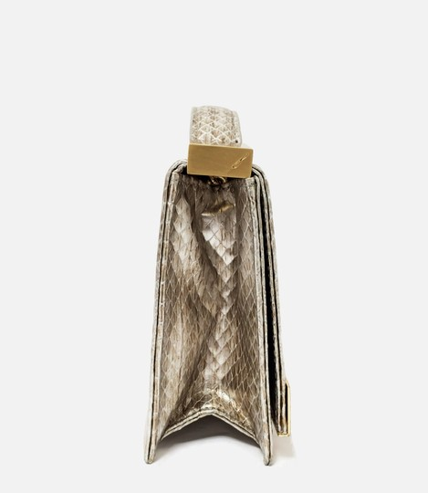 Brian Atwood Ava Snake Print Leather Pewter Clutch Image 2