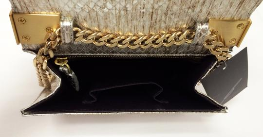 Brian Atwood Ava Snake Print Leather Pewter Clutch Image 3