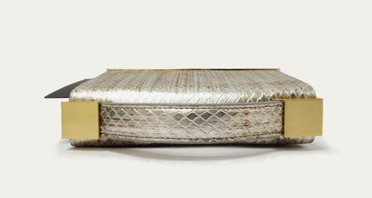 Brian Atwood Ava Snake Print Leather Pewter Clutch Image 4