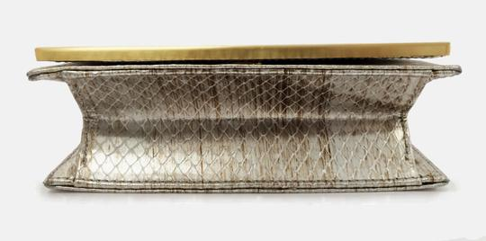 Brian Atwood Ava Snake Print Leather Pewter Clutch Image 7