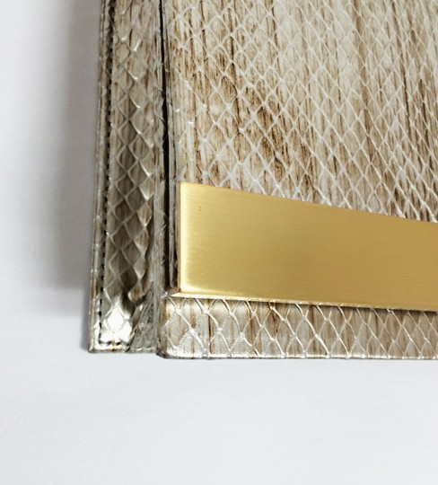 Brian Atwood Ava Snake Print Leather Pewter Clutch Image 8