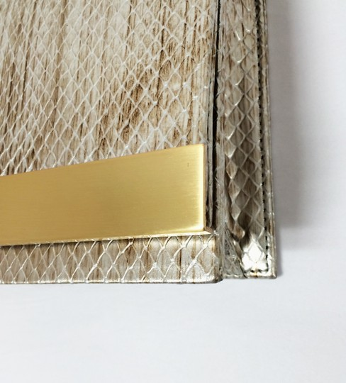 Brian Atwood Ava Snake Print Leather Pewter Clutch Image 9