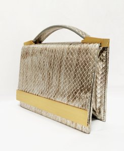 Brian Atwood Ava Snake Print Pewter Clutch