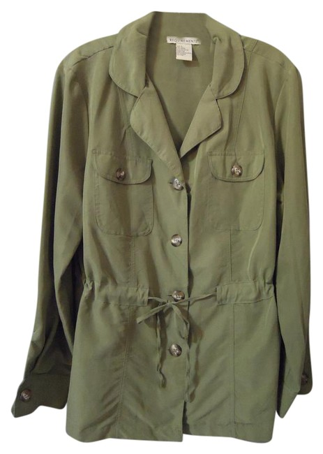 Item - Army Green Button Front Blouse Size 12 (L)