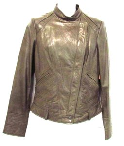 Cole Haan Lambskin Leather Dark Taupe Leather Jacket