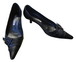 Charles David Kitten Heel Office Everyday Buckle Black Pumps