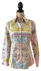 Etro Paisley Fitted Cotton Stretch Color-blocking Button Down Shirt Multi-color