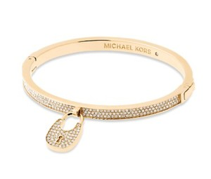 Michael Kors NWT MICHAEL KORS PAVE LOCK BANGLE BRACELET GOLD TONE $125 MKJ5971 BAG