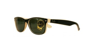 Ray-Ban NEW New Wayfarer Sunglasses RB2132 c.875 Black on Beige G-15 lens 52mm