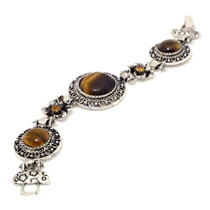 Other Bracelet with Natural Stone Accent and Rhinestone Florets