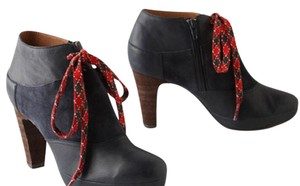 Anthropologie Leather Suede blue with red laces Boots