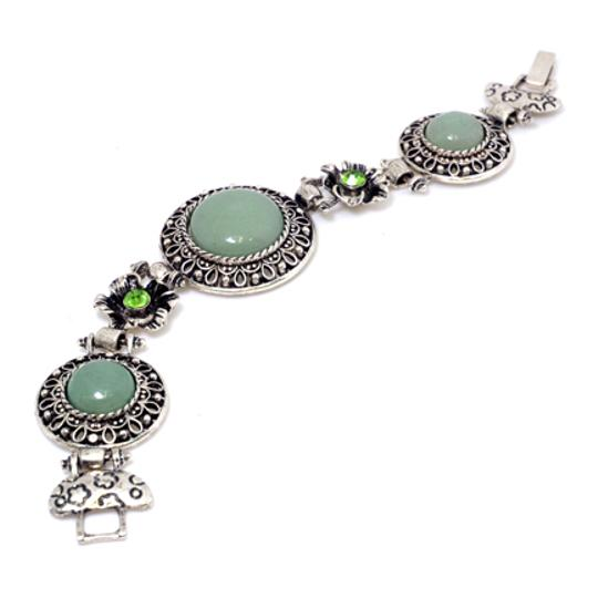 Preload https://img-static.tradesy.com/item/20508802/green-with-natural-stone-accent-and-rhinestone-florets-bracelet-0-0-540-540.jpg