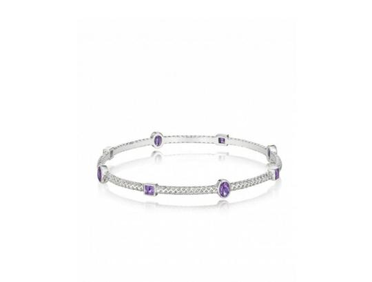 Thistle & Bee Burlap Bangle with Amethyst Image 1
