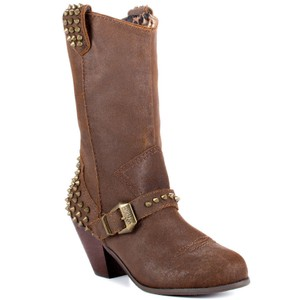 Betsey Johnson Yendell Spiked Western Cowboy Brown Boots