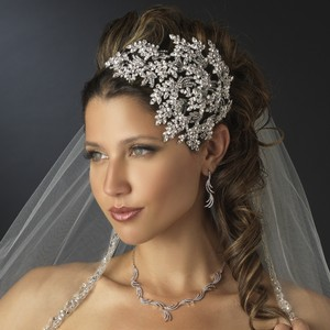 Elegance By Carbonneau Vintage Couture Leaves Side Accented Crystal Bridal Faceframer Headband