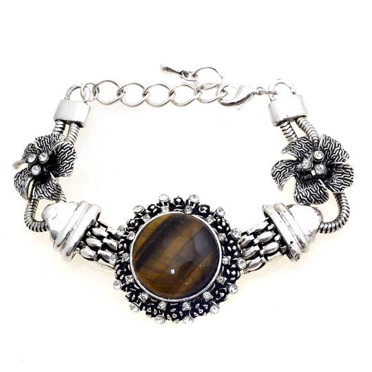 Preload https://img-static.tradesy.com/item/20508953/brown-with-natural-stone-accent-and-rhinestone-florets-bracelet-0-0-540-540.jpg