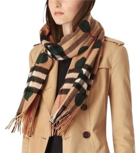 Burberry Cashmere Scarf in Giant Check and Green Dots