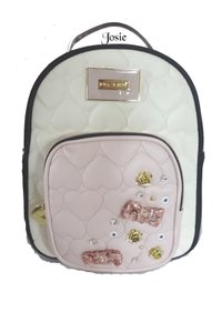 Betsey Johnson Pink Trim Black/bone Medium Applique Quilted Heart Backpack