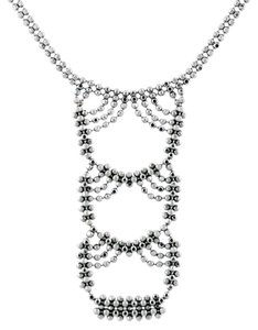 Tiffany & Co. Tiffany and Co Woven Look Bead Necklace 18K White Gold